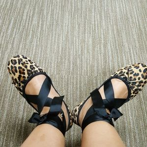 Zara Leopard Ballerina Shoes